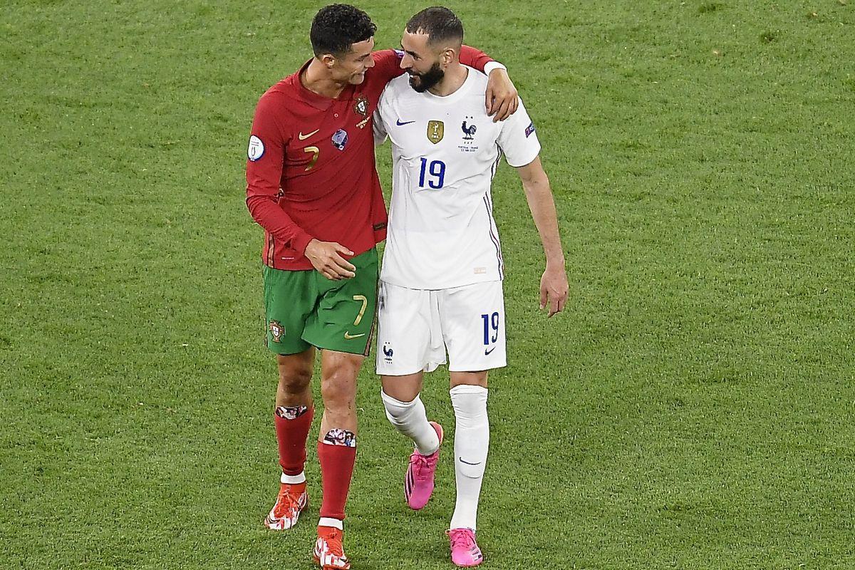 Cristiano Ronaldo and Karim Benzema - Portugal v France - UEFA Euro 2020: Group F