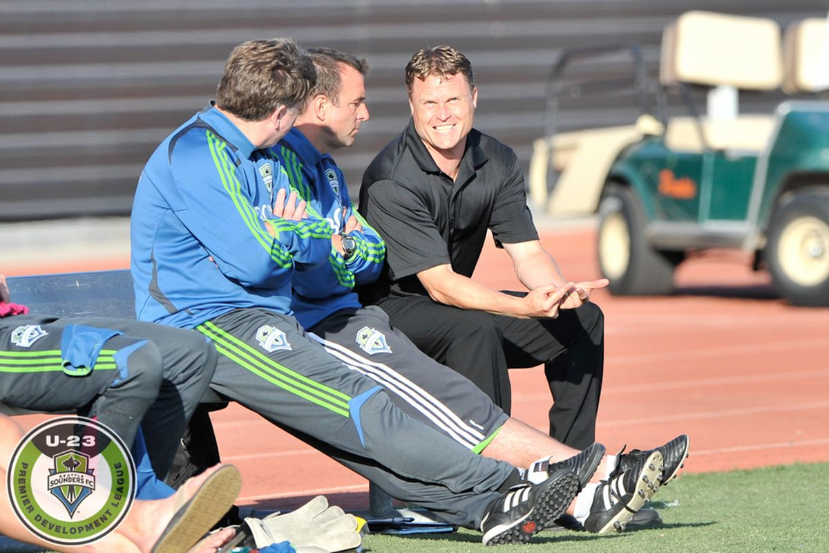 """Sounders Director of Youth Development Darren Sawatzky looks on during a Sounders U23s playoff match. (via Chris Coulter and <a href=""""http://www.soundersphotos.com/"""">soundersphotos.com</a>)"""