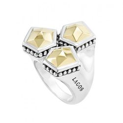 """<a href=""""https://www.lagos.com/product.php?pid=909?id=Faceted-Gold-Ring"""">Gold Rocks Faceted Gold Ring</a>, $695"""
