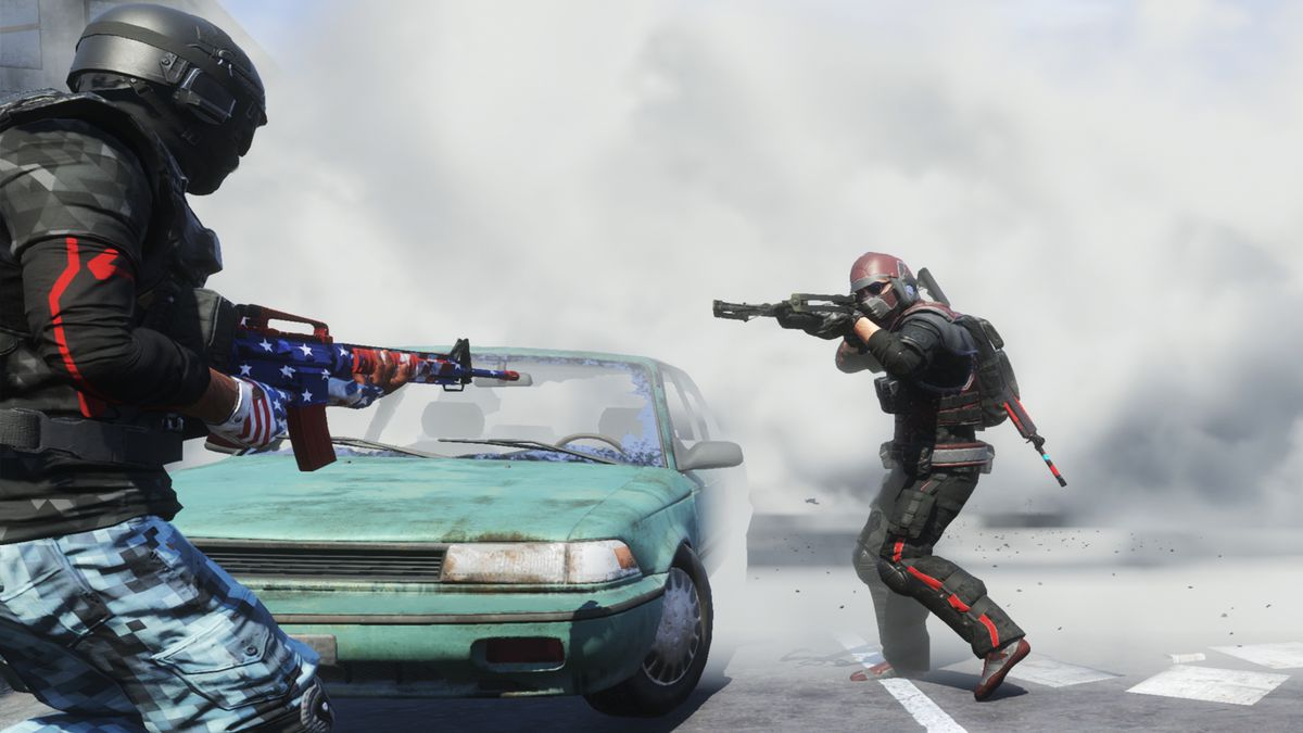 Two players circle one another around a smoking car, rifles raised.