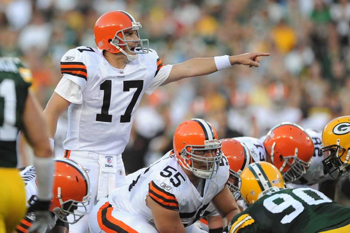 GREEN BAY - AUGUST 14: Jake Delhomme #17 of the Cleveland Browns calls out a play during the NFL preseason game against the Green Bay Packers at Lambeau Field August 14 2010 in Green Bay Wisconsin.  (Photo by Tom Dahlin/Getty Images)