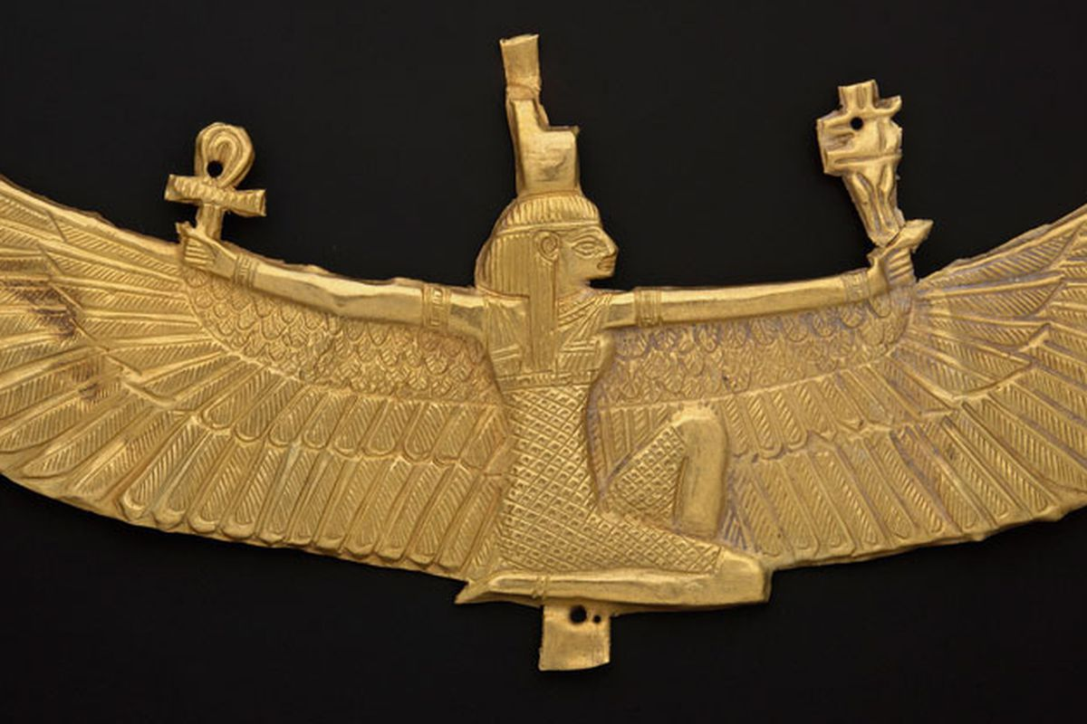 """Nubian Winged Isis pectoral (538–519 B.C.) via <a href=""""http://www.mfa.org/exhibitions/gold-and-gods"""">Museum of Fine Arts</a>"""