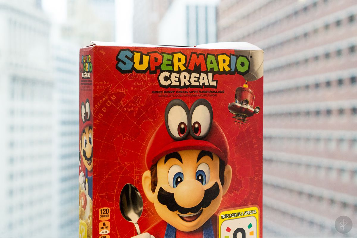 Super Mario Cereal box close-up