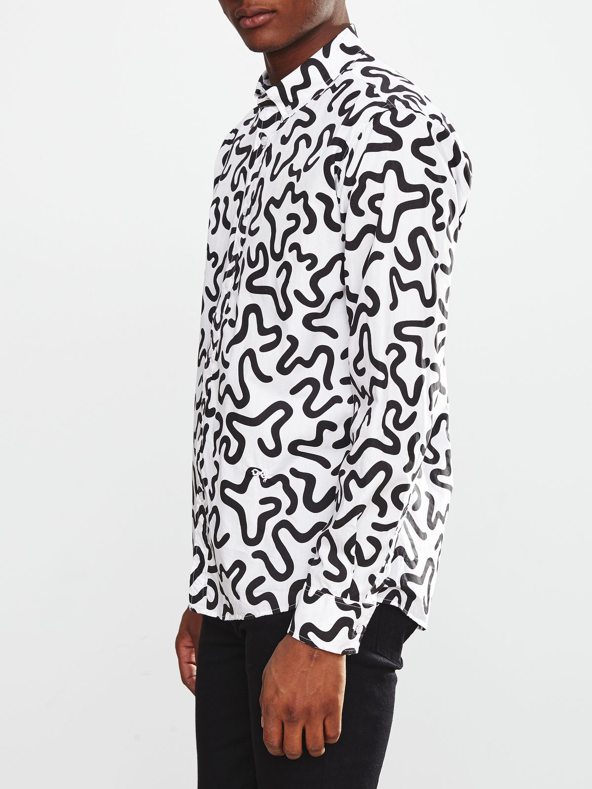 Concrete+Water men's button up white shirt with black squiggly pattern