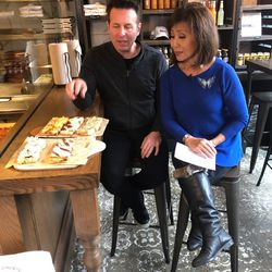 Steve Dolinsky and Linda Yu talking about roman style pan pizza at Bonci. | Sun-Times Staff