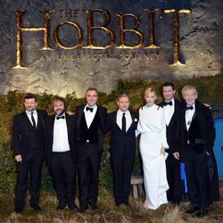 """From left, Andy Serkis, Peter Jackson, James Nesbitt, Martin Freeman, Cate Blanchett, Richard Armitage and Ian McKellan at the UK premiere of """"The Hobbit: An Unexpected Journey"""" at The Odeon Leicester Square,London on Wednesday, Dec. 12, 2012."""