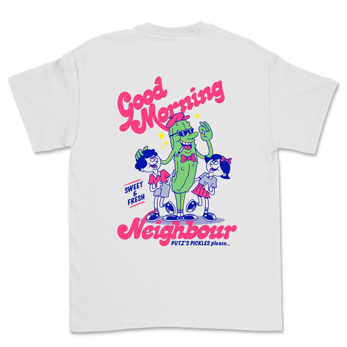 London's best restaurant merch includes this Good Morning Neighbour t-shirt illustrated with an animated pickle