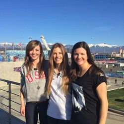 The 2014 gold, silver and bronze medalists in the women's snowboard halfpipe are Kaitlyn Farrington, from left, Torah Bright and Kelly Clark.