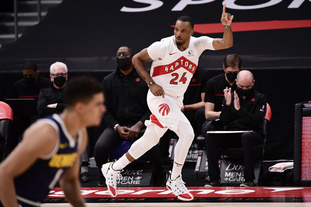 Norman Powell of the Toronto Raptors reacts during the first quarter against the Denver Nuggets at Amalie Arena on March 24, 2021 in Tampa, Florida.
