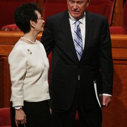 President Dieter Uchtdorf walks with his wife Harriet after the 182nd Annual General Conference for The Church of Jesus Christ of Latter-day Saints in Salt Lake City  Sunday, April 1, 2012.