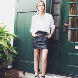 """Bethany of <a href=""""http://outofabook.blogspot.com/2013/03/home-away.html"""">Snake's Nest</a> is wearing a vintage shirt and skirt and Coach shoes."""