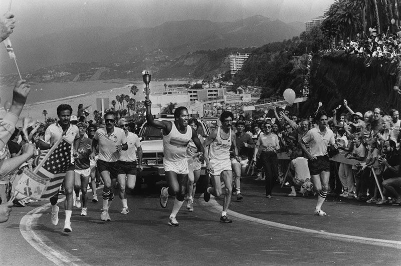 O.J. Simpson carrying Olympic torch