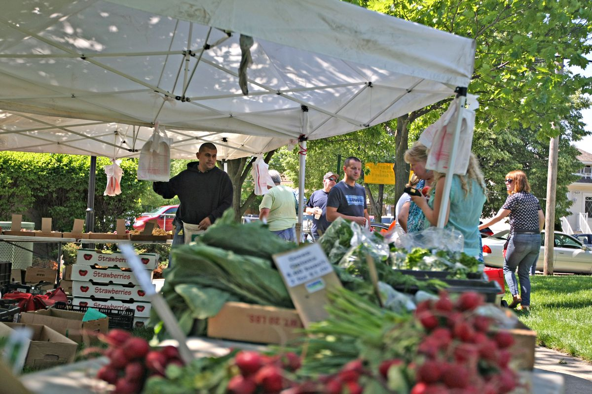People browse produce at the Elmwood Park farmers market.   File Photo by Curtis Lehmkuhl/For Sun-Times