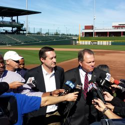 Tom Ricketts and Mesa Mayor Scott Smith speak to the media after the ceremony