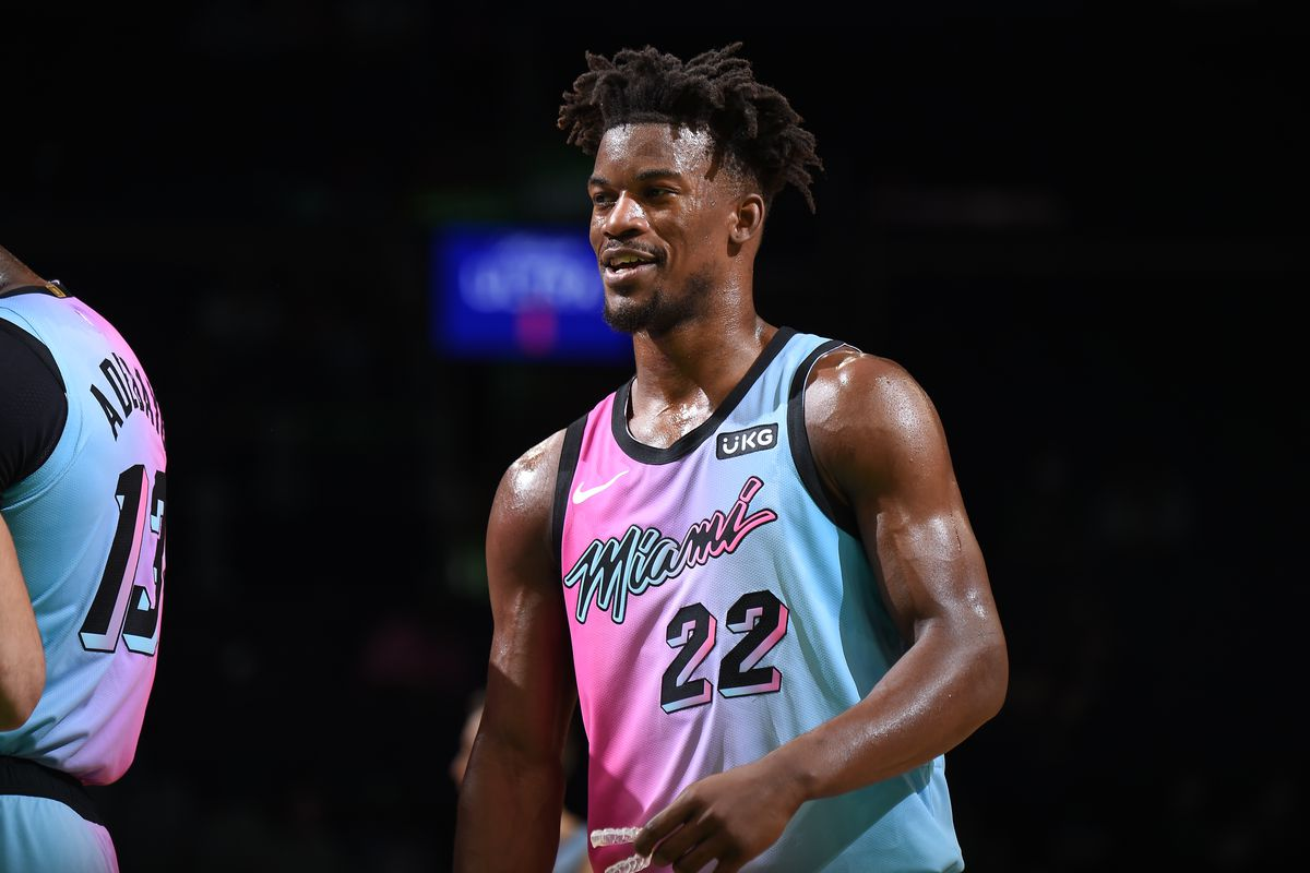 Jimmy Butler #22 of the Miami Heat smiles during the game against the Boston Celtics on May 9, 2021 at the TD Garden in Boston, Massachusetts.