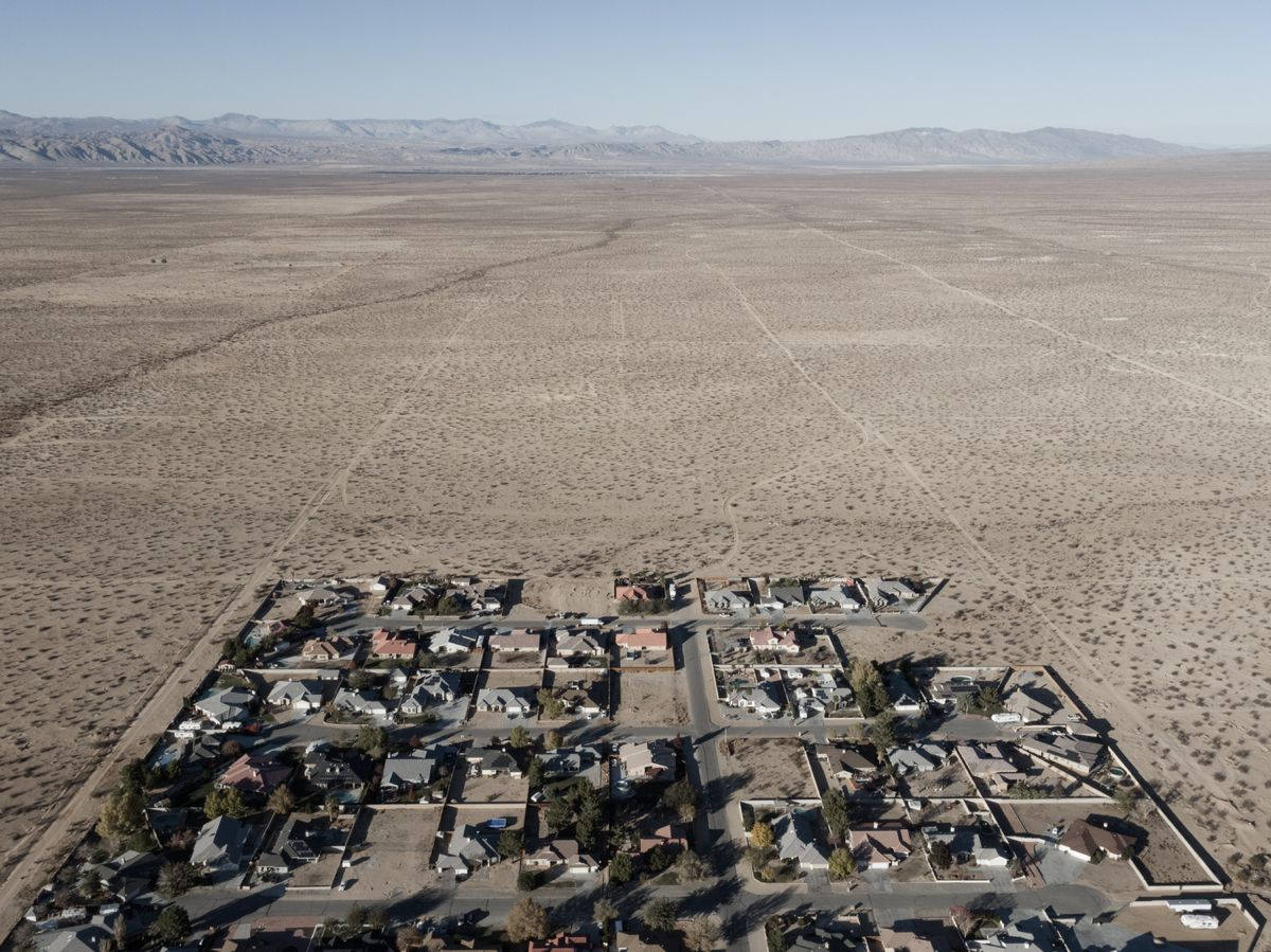 An aerial view of a town in the California desert.