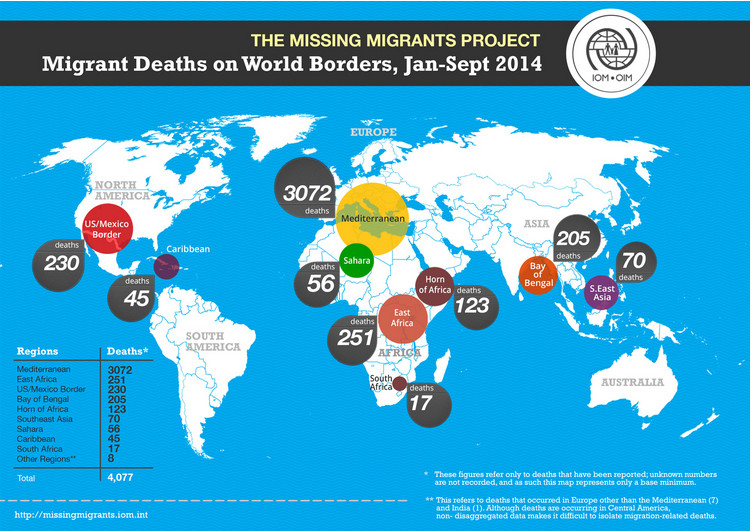 IOM migrant deaths map