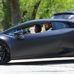 Adrian Zamarripa looks out the window of a Lamborghini Huracan as he and sister Sidney Estrada take a ride with the car's owner, Jeremy Neves, in Ogden on Tuesday, May 5, 2020. Adrian, who is 5, tried to drive his parents' car to California to get his own Lamborghini on Monday, He was stopped by the Utah Highway Patrol just a few miles from his home.