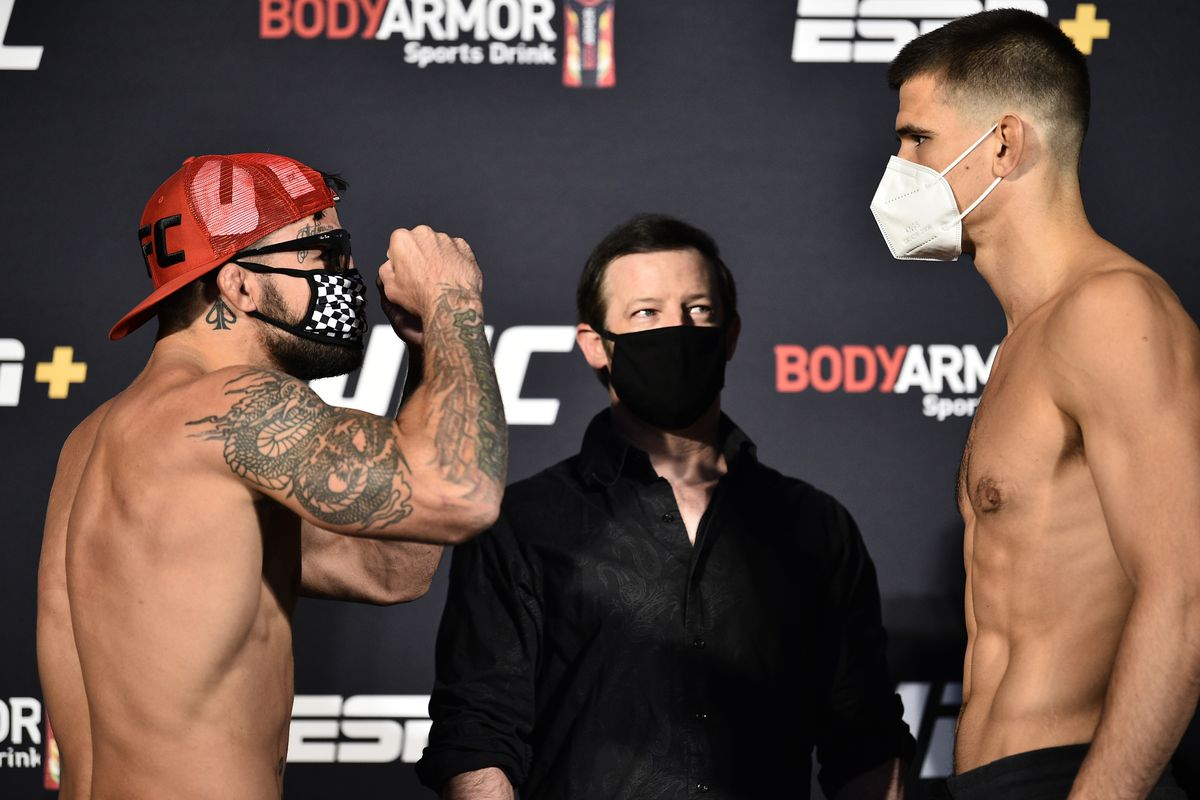 Opponents Mike Perry and Mickey Gall face off during the UFC weigh-in at UFC APEX on June 26, 2020 in Las Vegas, Nevada.