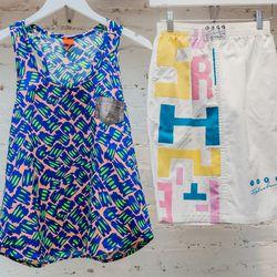 <b>Wota</b> neon tank, $98; Vintage skirt, $85