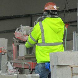 3:25 p.m. Cutting a concrete block -