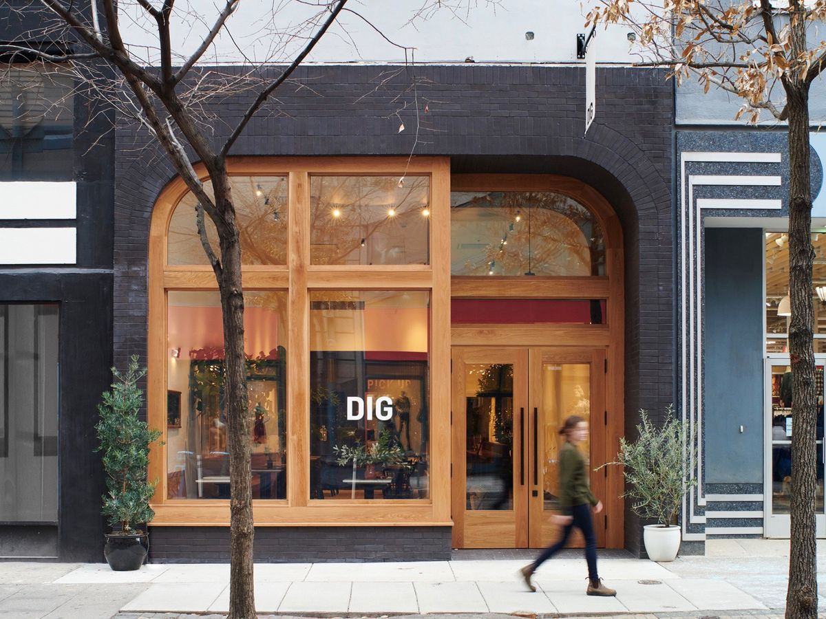 storefront with the word dig on the window