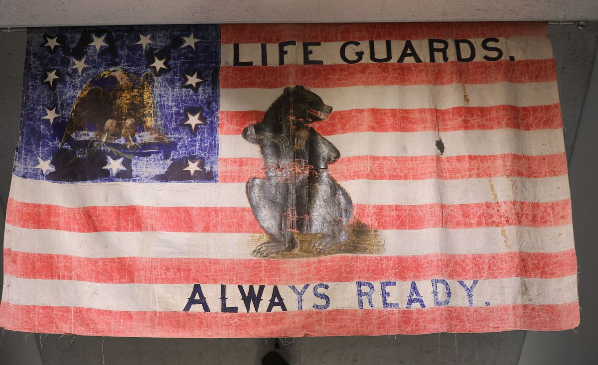 A flag carried by the Mormon Battalion is on display at the Sons of Utah Pioneers office in Millcreek on Wednesday, July 14, 2021.