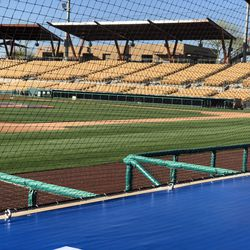 A view from the seats behind the third base dugout at Camelback Ranch.