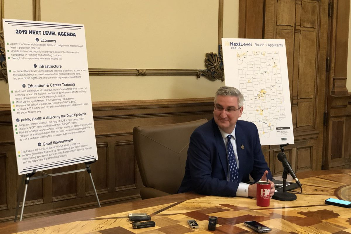 Gov. Eric Holcomb addressed teacher pay in his recent press conference with reporters mid-way through the 2019 legislative session.