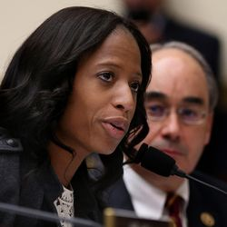 Rep. Mia Love, R-Utah, the sponsor of H.R. 3791, discusses the bill during a Financial Services Committee meeting at the U.S. Capitol in Washington, D.C., on Tuesday, Dec. 8, 2015. The committee approved the bill that will enable more small lenders to make acquisitions and form new bank and thrift holding companies.