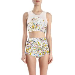 """<span class=""""credit""""><b>Cynthia Rowley</b> High Waisted Two Piece in White Confetti, <a href=""""http://www.cynthiarowley.com/surf-swim/hi-waisted-two-piece.html"""">$285</a></span><p>"""