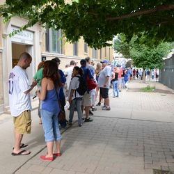 5:02 p.m. The end of the bleacher line on Waveland -