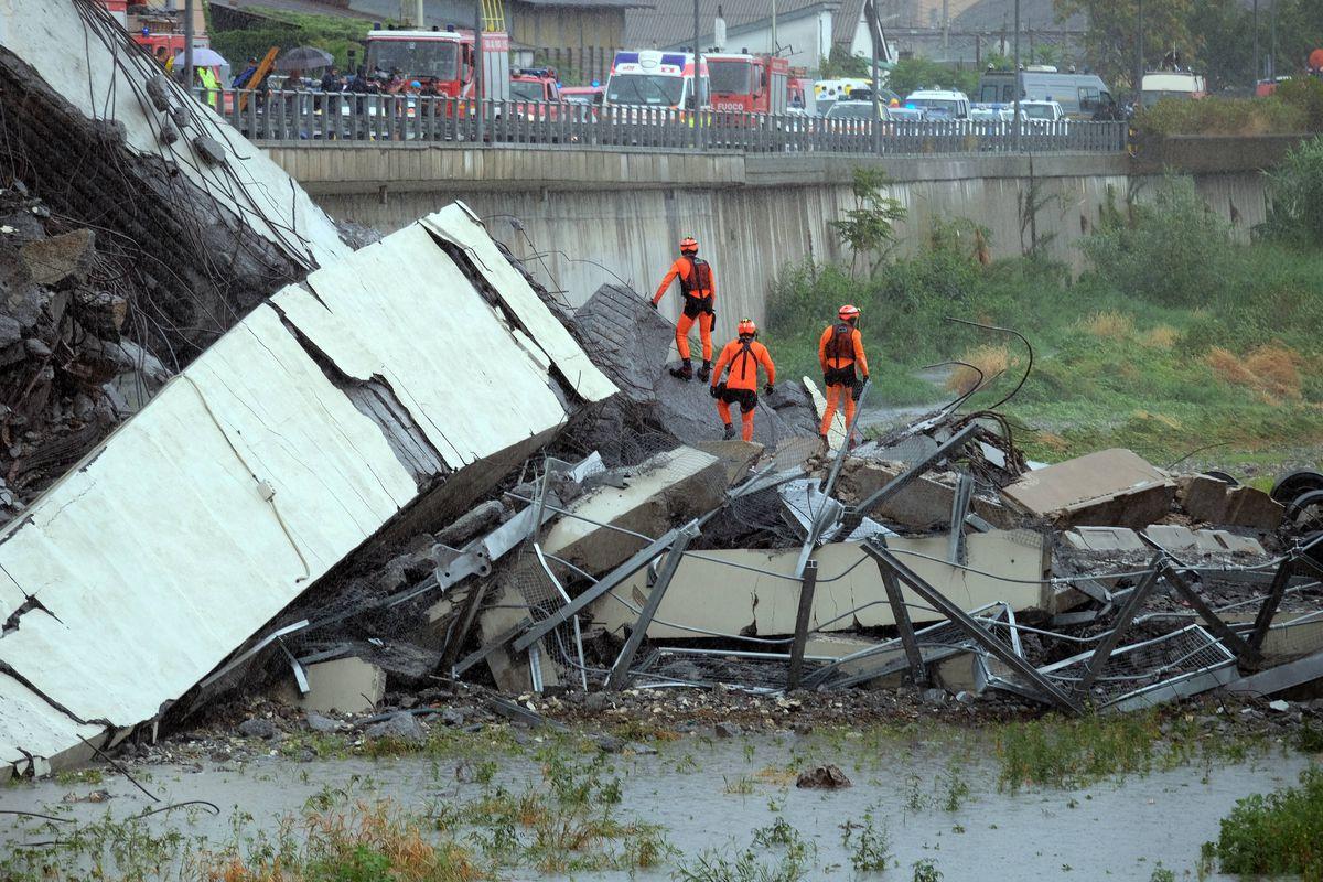 Rescuers scour the rubble for survivors.