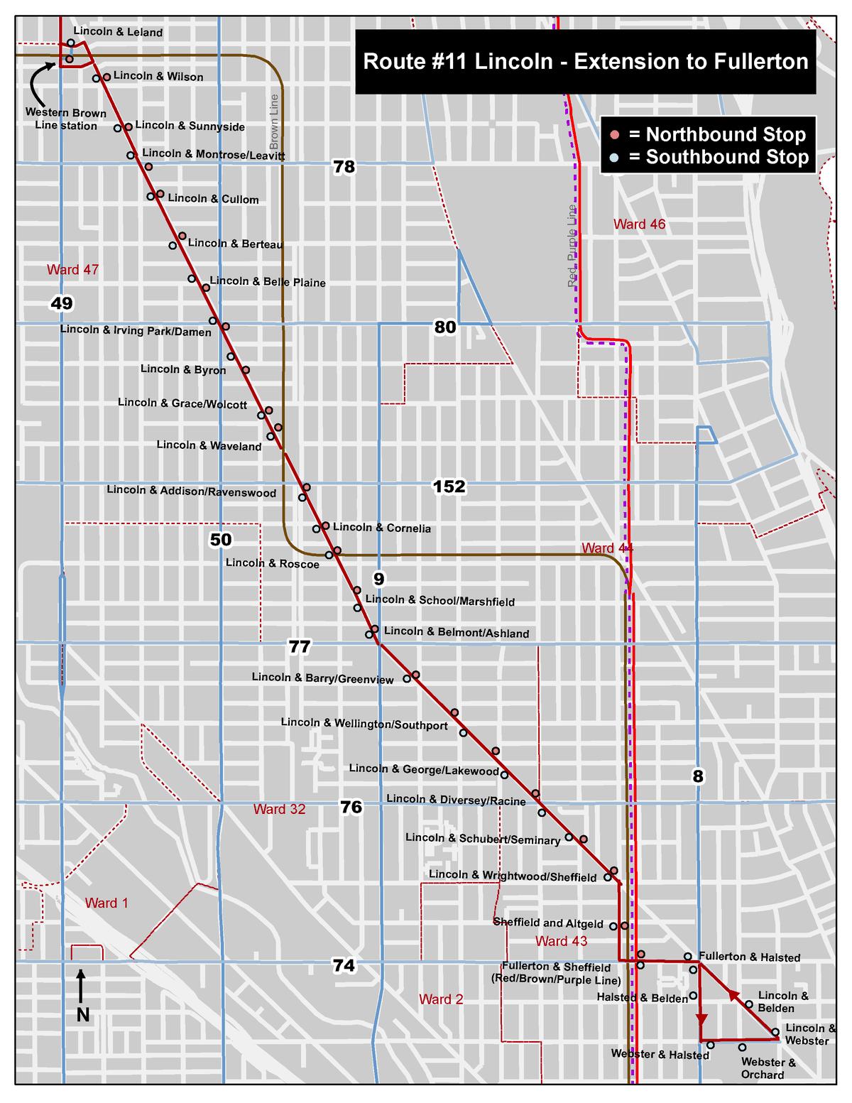 CTA map of No. 11 Lincoln Avenue bus pilot program route.