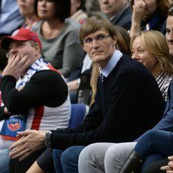 President of the Russian Basketball Federation Andrei Kirilenko (center) in the Euroleague regular season match between CSKA (Russia, Moscow) and EA7 Emporio Armani Milan (Italy, Milan).