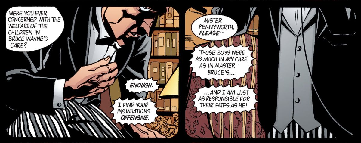 Alfred Pennyworth storms out of an interview with a social worker after being asked if he was ever concerned with the welfare of the children in Bruce Wayne's care, in Batman: Gotham Knights #45, DC Comics (2003).