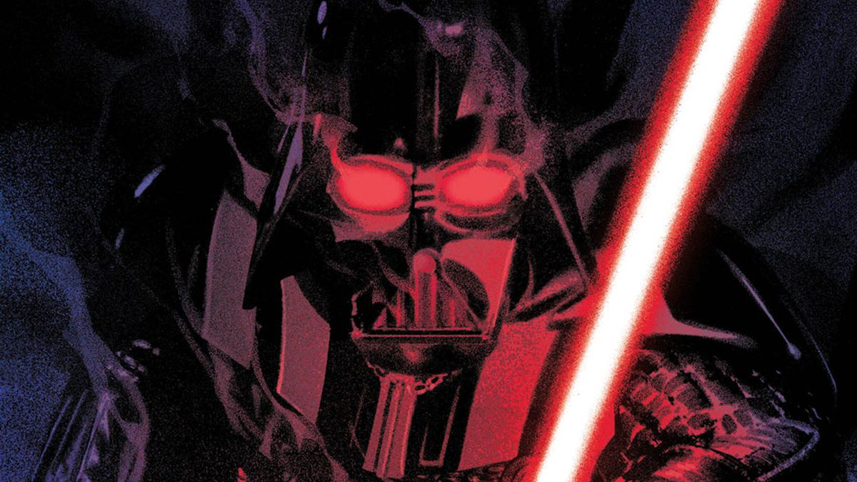 Darth Vader menaces the reader, lit only by the crimson glow of his lightsaber, on the cover of the first issue of Marvel's cancelled Star Wars: Shadow of Vader series (2018).