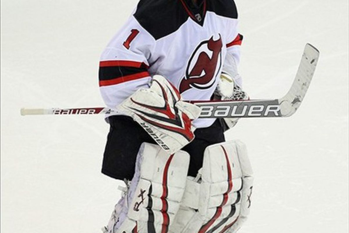 Johan Hedberg will start tonight's game.  If that wasn't rare enough, it's at the Rock, which is his first start at home since February 9.  Just imagine him in red instead of white in this photo. Mandatory Credit: Danny Wild-US PRESSWIRE