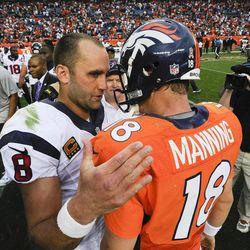 Houston Texans quarterback Matt Schaub (8) talks with Denver Broncos quarterback Peyton Manning (18) after an NFL football game Sunday, Sept. 23, 2012, in Denver. Houston won 31-25.