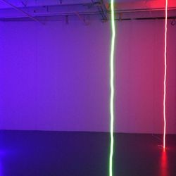 Strings of colorful neon filled this room