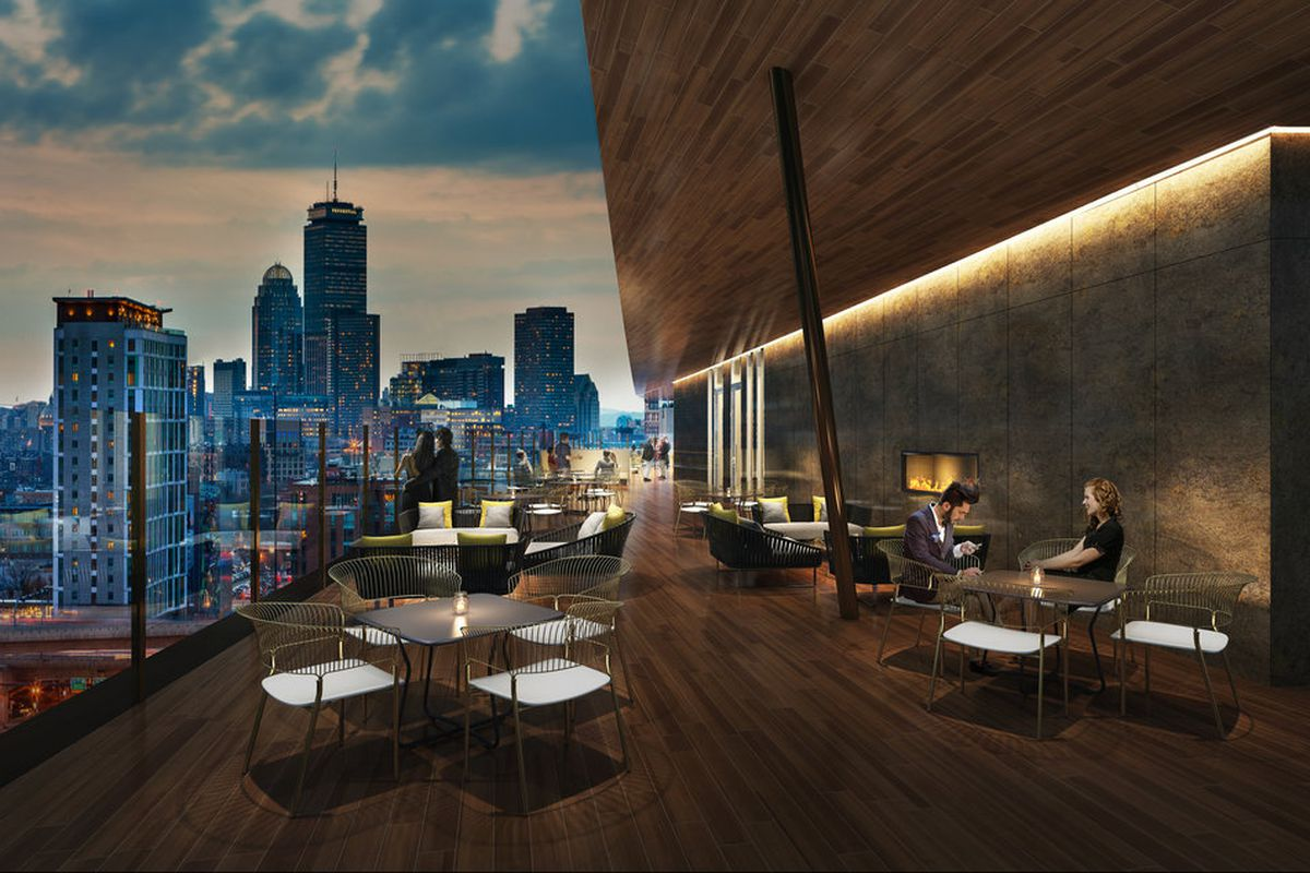 This rendering of the Cambria Hotel rooftop lounge in South Boston shows a clear view of the Back Bay skyline