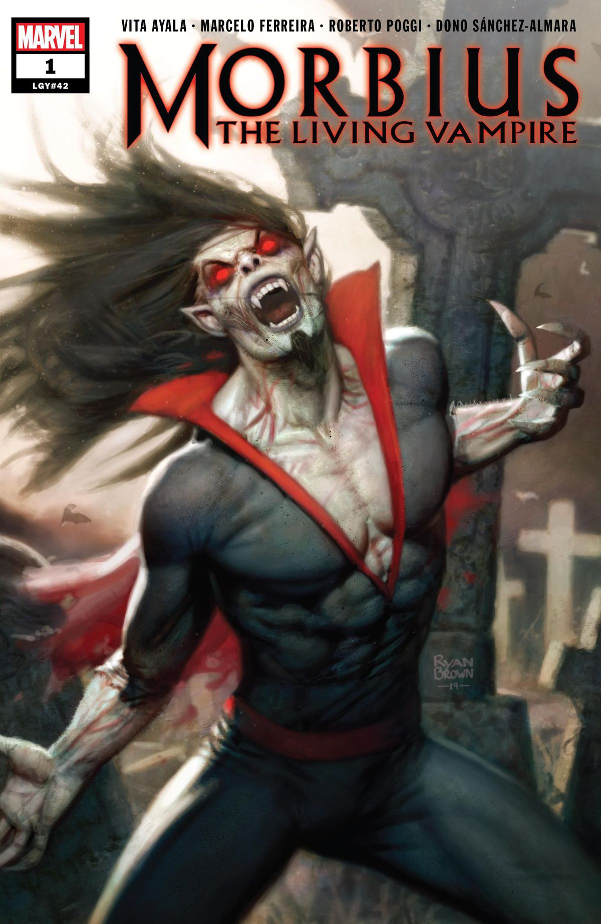 Morbius the Living Vampire, with pale skin, red eyes, long fangs, and wild hair, on the cover of Morbius #1, Marvel Comics (2020).