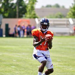 Broncos rookie WR DaeSean Hamilton works on receiving kicks after practice.