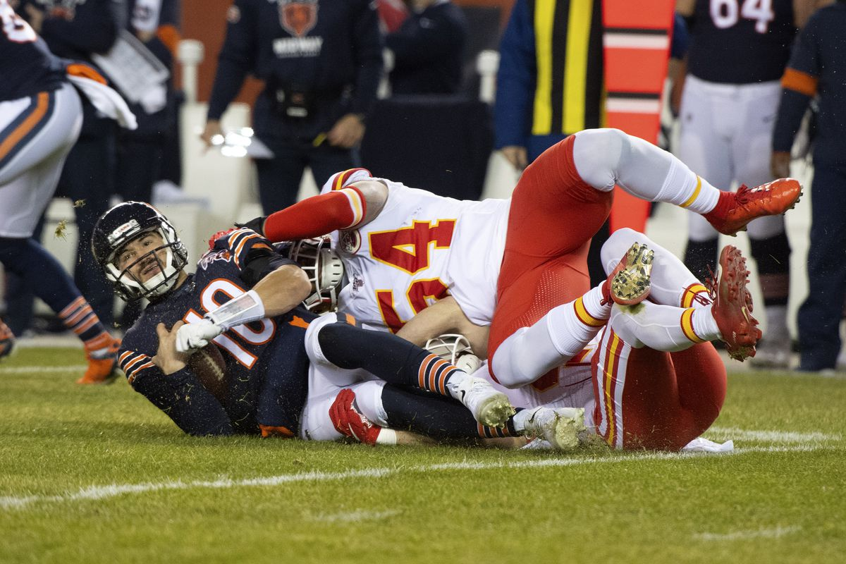 Kansas City Chiefs outside linebacker Damien Wilson sacks Chicago Bears quarterback Mitchell Trubisky during the first half at Soldier Field.