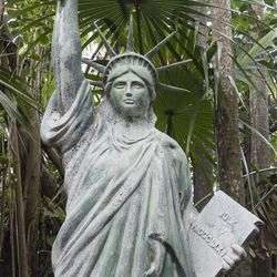 Bring a piece of Ellis Island to your backyard with Lilly Pulitzer's 87-inch Lady Liberty.