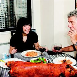 """<b>Anthony Bourdain</b>: Tony has an adorable family and a small dinner table.  <i>[<a href=""""http://www.people.com/people/archive/article/0,,20397170,00.html"""" rel=""""nofollow"""">Photo</a>]</i>"""