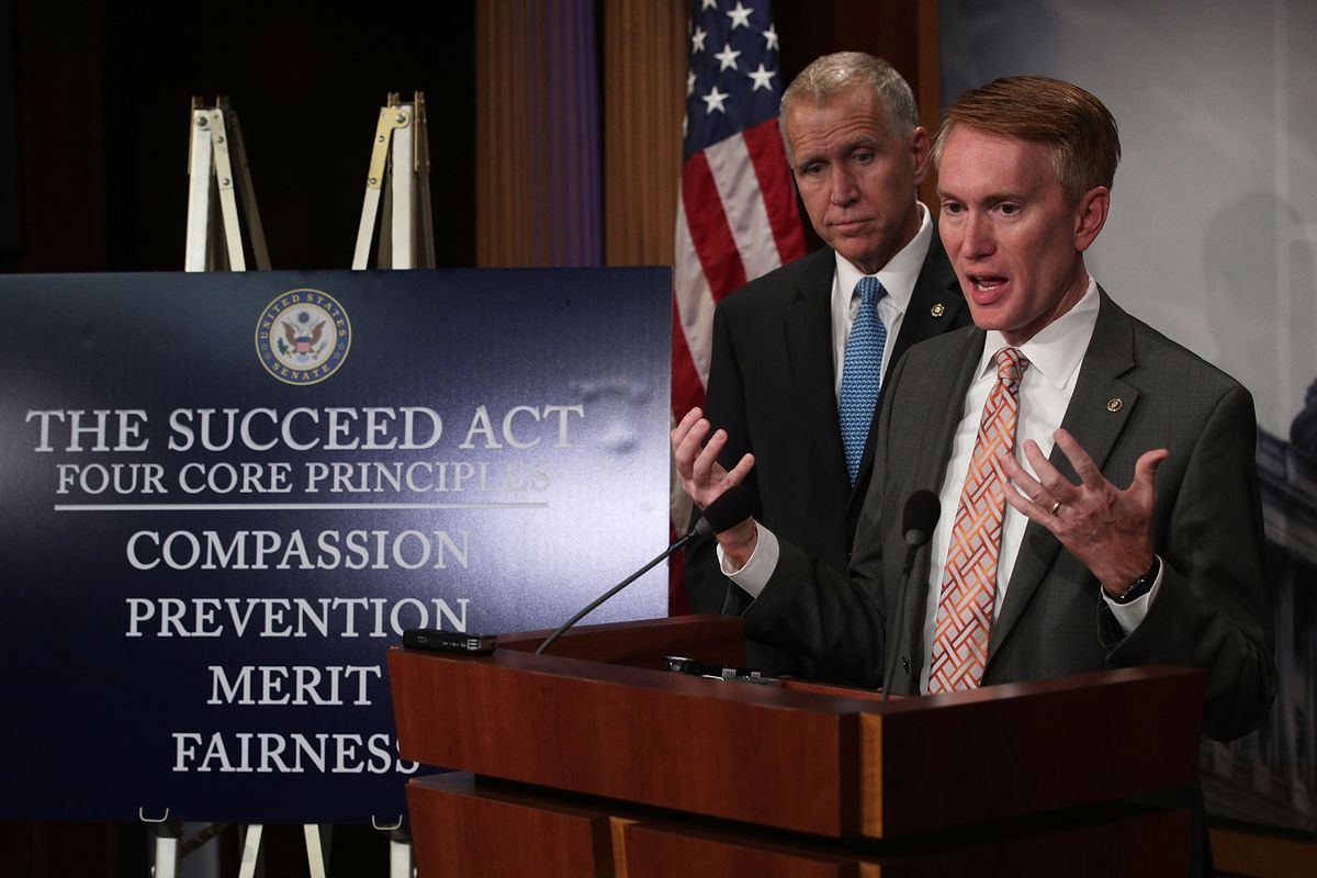 U.S. Sen. James Lankford speaks as Sen. Thom Tillis introduce the SUCCEED Act