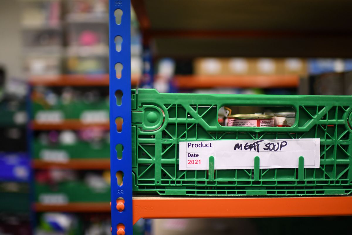 Food bank crates in East London, with charities seeing a huge uptick in food insecurity