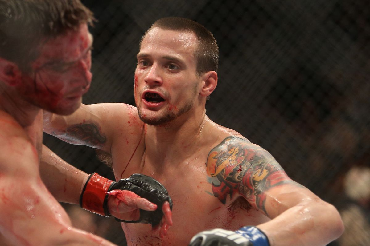 James Krause punches a battered Sam Stout in their UFC 161 bout this past weekend