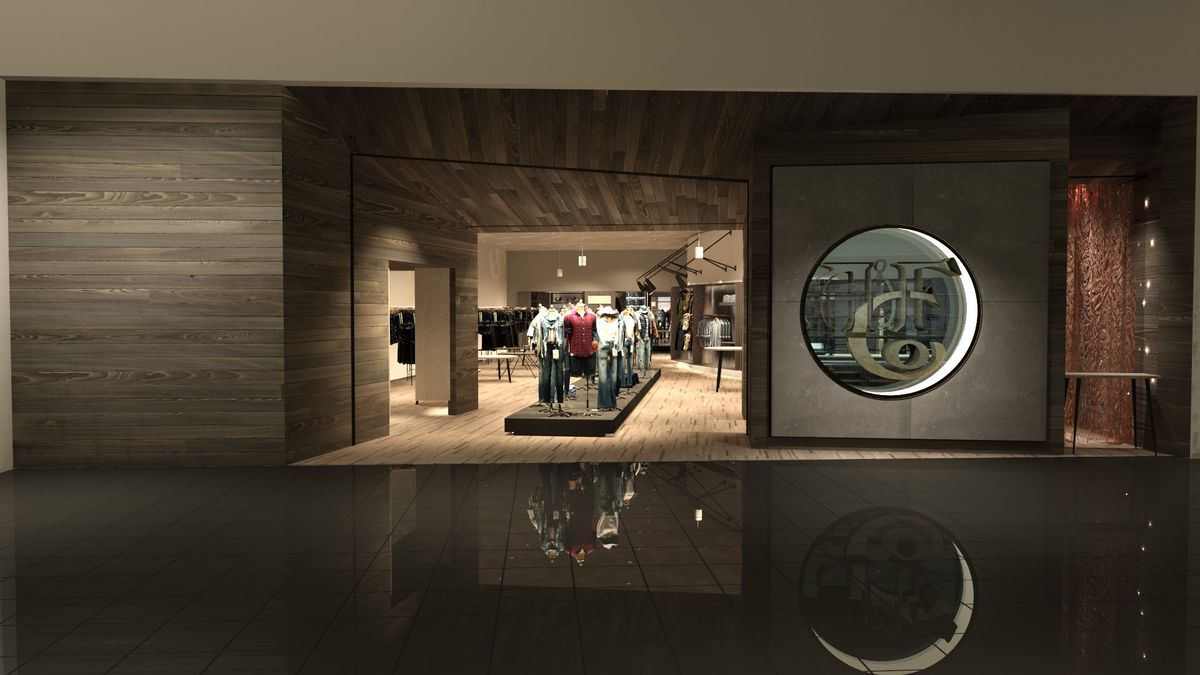 The sleek wooden exterior of A&F's new store. Inside, it is bright and warm-toned.